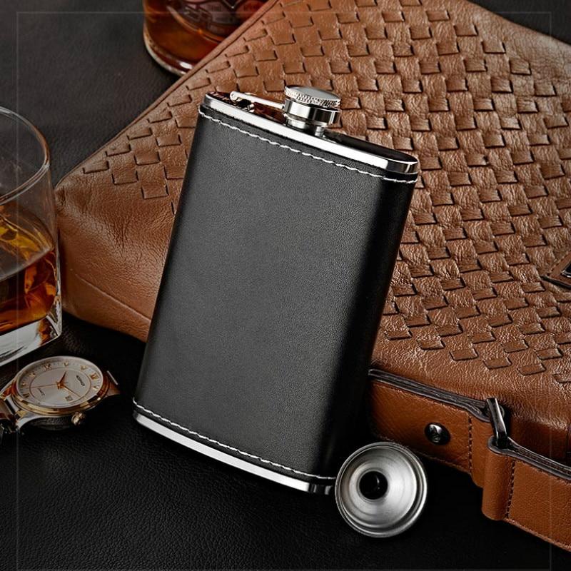 Frasco de cadera portátil para hombre, frasco de cuero negro personalizado, botella...