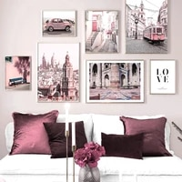 european urban architecture car wall art canvas painting nordic posters and prints landscape wall pictures for living room decor