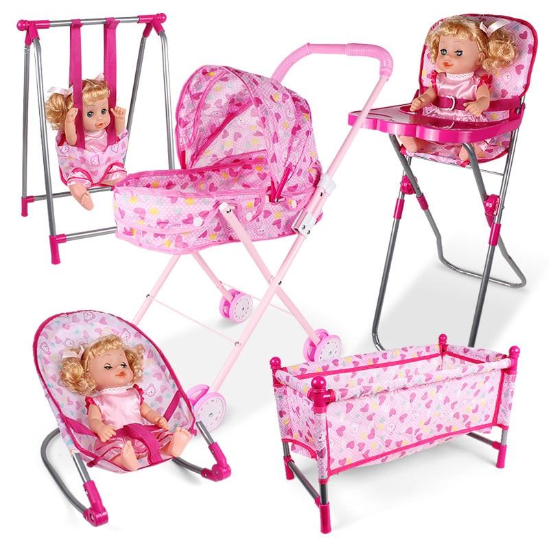 Кукольный домик, аксессуары, кресла-качалки, качающаяся кровать, обеденное кресло, детский игровой домик, имитация мебели, игрушка для ролев...
