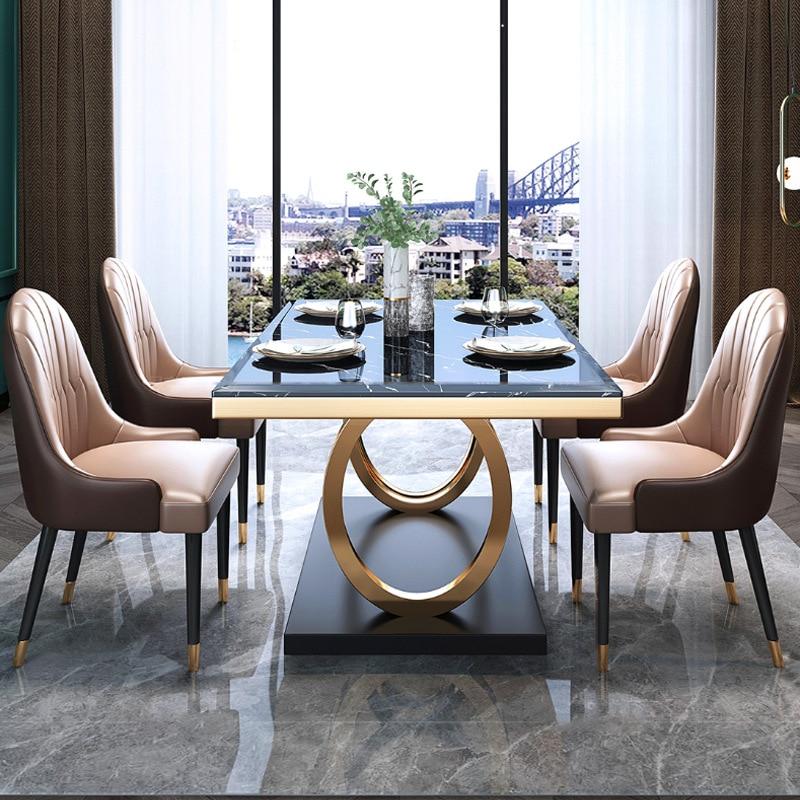خفيفة الوزن طاولة طعام من الرخام وكرسي الجمع بعد الحديثة الحد الأدنى المنزلية الصغيرة مستطيلة الفولاذ المقاوم للصدأ الجدول