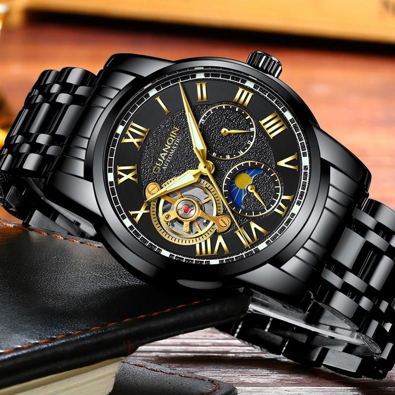 Guanqin relógio de negócios relogio mecânico tourbillon relógio masculino automático marca luxo esqueleto relógio masculino banda aço completo