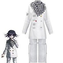 Danganronpa V3 Kokichi Oma Präsident Cosplay Kostüm Full Set Zentai Schal Mantel Uniformen 2021 Schwarz Weiß Set