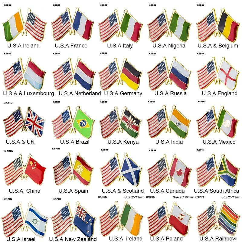 Bandera de la amistad de EE. UU. Pins bandera del país insignia broche con forma de bandera nacional solapa Pin colecciones de pines de viaje internacionales