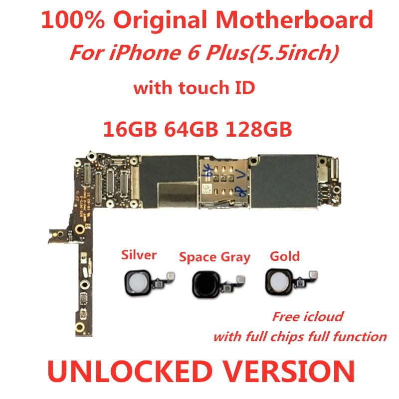 Samunelt placa base de para el iPhone 6 Plus de placa base desbloqueado con ID táctil/sin ID táctil logic compact icloud quitar