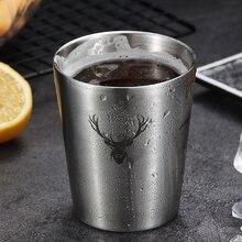 Minimalista moderno de acero inoxidable 304 copa de bebida fría de una sola capa de jugo de cerveza doble taza para café o leche Barra de tendencia juego de copa de vino de Metal
