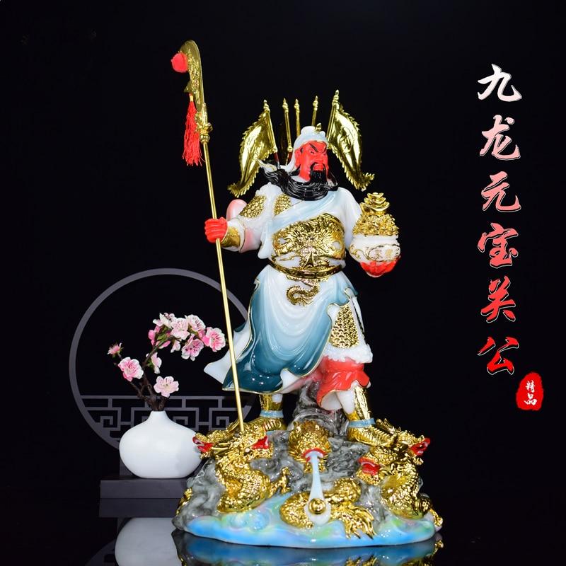 Estatua dorada jade 9 dragones GUAN GONG GUAN ER YE buena suerte dios de la riqueza de alta calidad de la empresa de la tienda del sudeste asiático