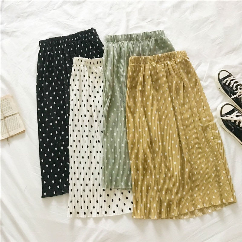 AliExpress - Pleated Long Midi Skirt Women Polka Dot Print Lace Up Skirts Elegant Female Elastic Waist Skirt
