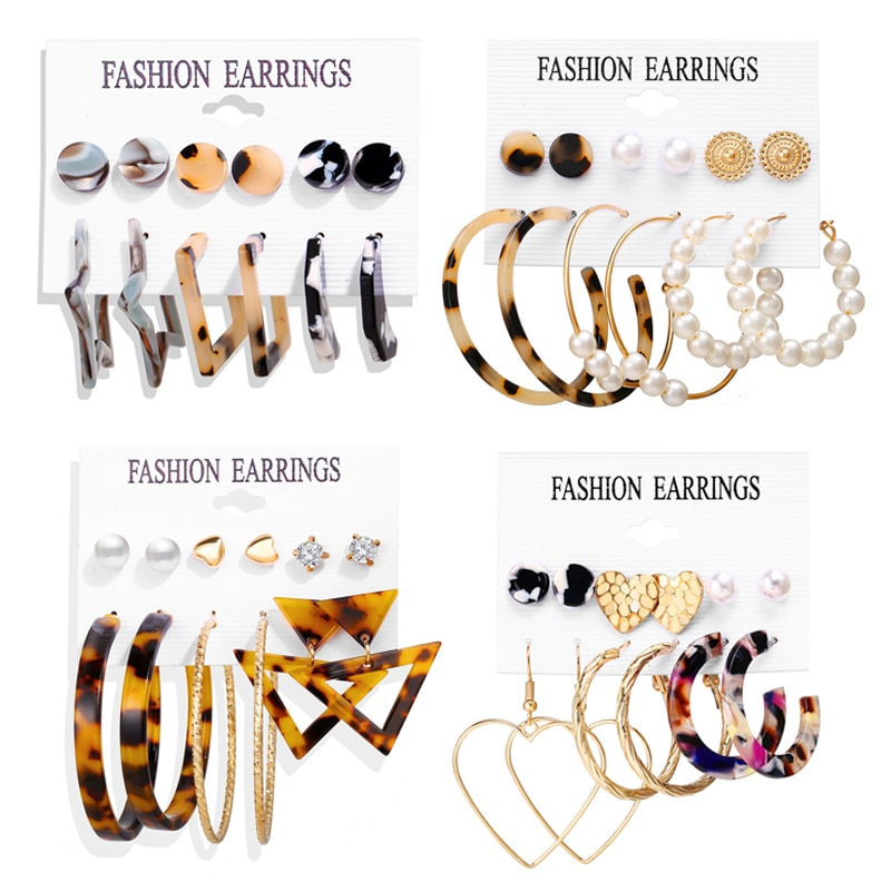 Brincos geométricos de acrílico, conjunto boêmio, brinco de tortoise geométrico, conjunto moderno, redondo, brinco de pendurar para mulheres, joias da moda