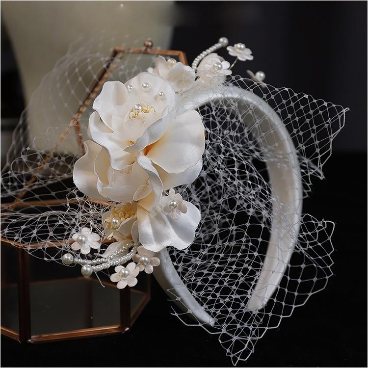 Оригинальный дизайн градиентные атласные лепестки Тюлевая повязка для волос свадебный головной убор для невесты фото макияж фотография мо...