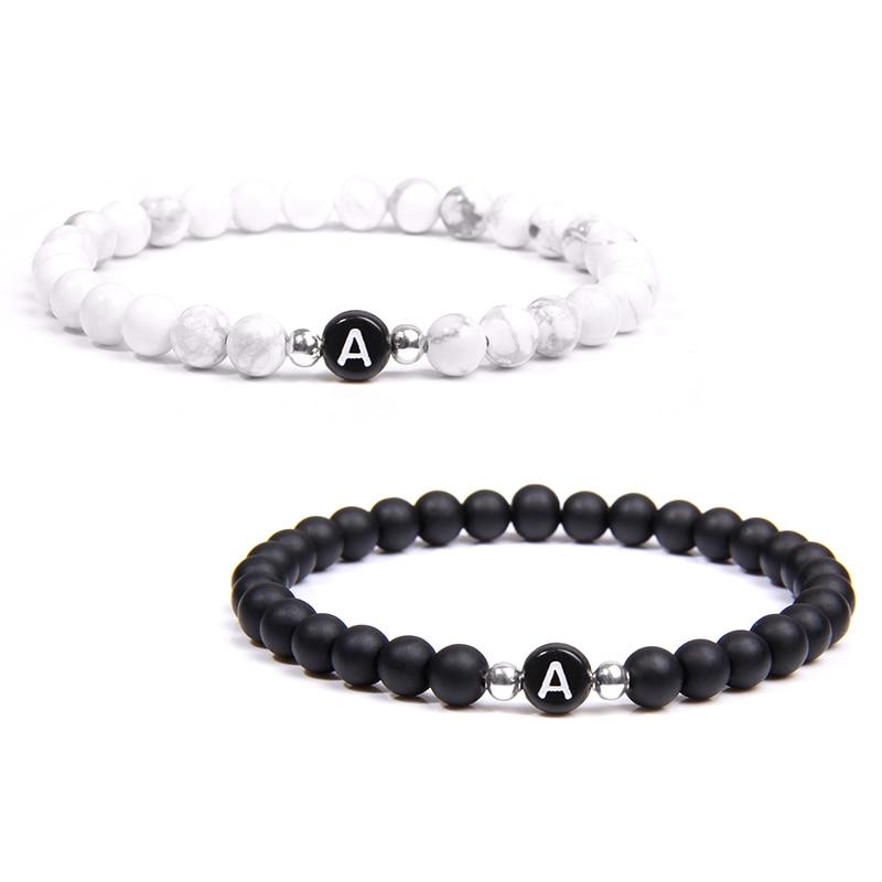 Black White Stone DIY id 26 Letters Bracelet for Women Men couple Jewelry Name Friendship Lucky Bead