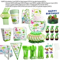 168 pcs dinosaur party plates kids party supplies dino theme disposable party tableware jungle decoration birthday set baby show