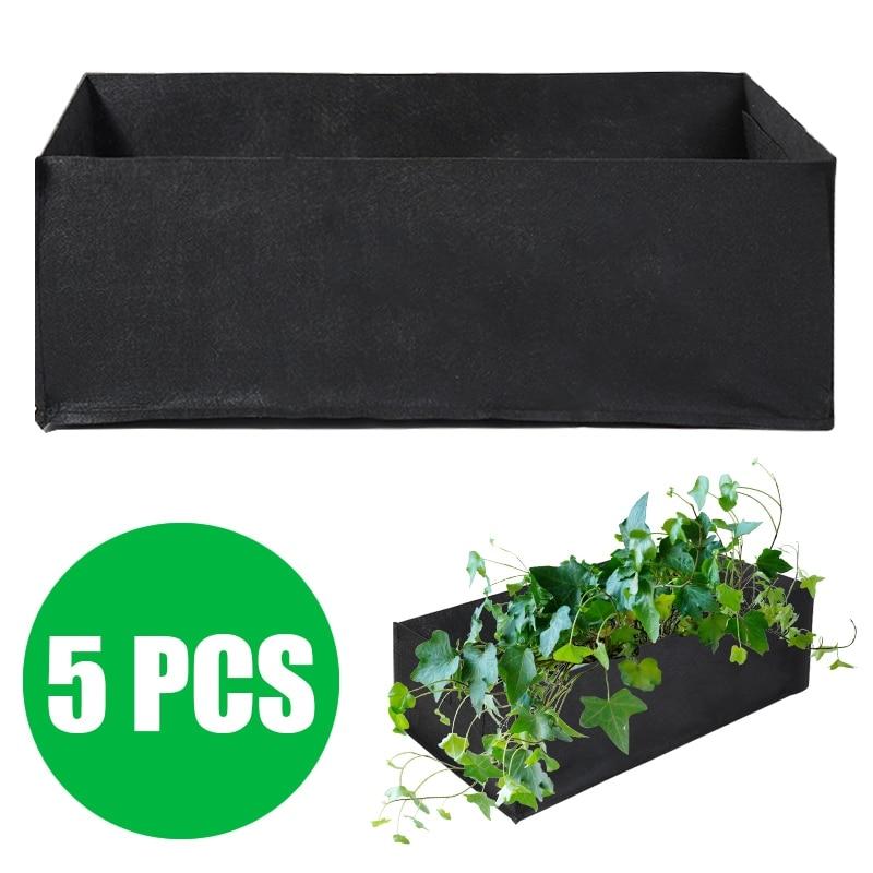 5 قطعة 60x30x21 سنتيمتر النسيج قابلة لإعادة الاستخدام كبيرة حديقة الأواني وعاء النبات الخضار الطماطم البطاطس الجزرة زارع تنمو أكياس