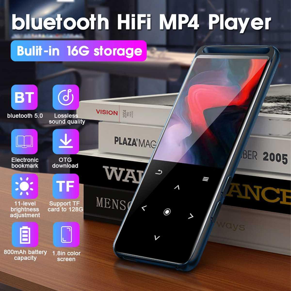 Reproductor de música HIFI Mp4 Pantalla de 1,8 pulgadas bluetooth sin pérdidas Mini reproductor de música MP3 reproductor de Audio portátil FM Radio E-book video mp5 jugador