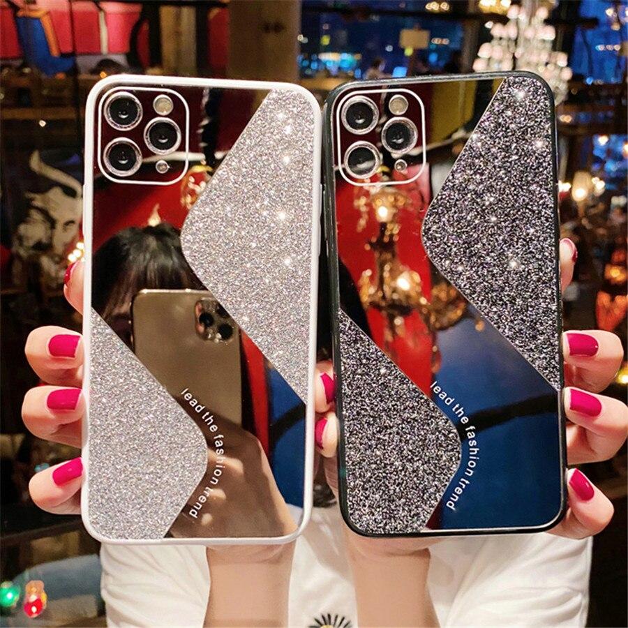 Luxo glitter espelho de maquiagem caso do telefone para o iphone 11 pro x xs max xr 8 7 plus se 2020 lantejoulas bling silicone capa casos mulher