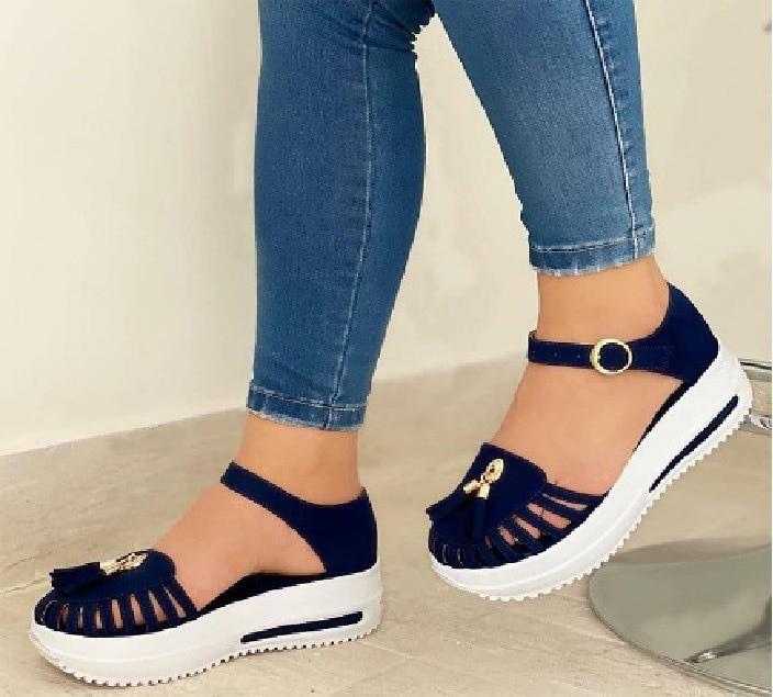 Summer Platform Sandals Women Shoes Round Toe Beach Flat Sandals Hollow Out Buckle Strap Ladies Glad