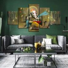Hindou seigneur Ganesha Texture mur photo pas de cadre toile peinture décor à la maison hindou dieu de sagesse œuvre dart peinture beaux cadeaux