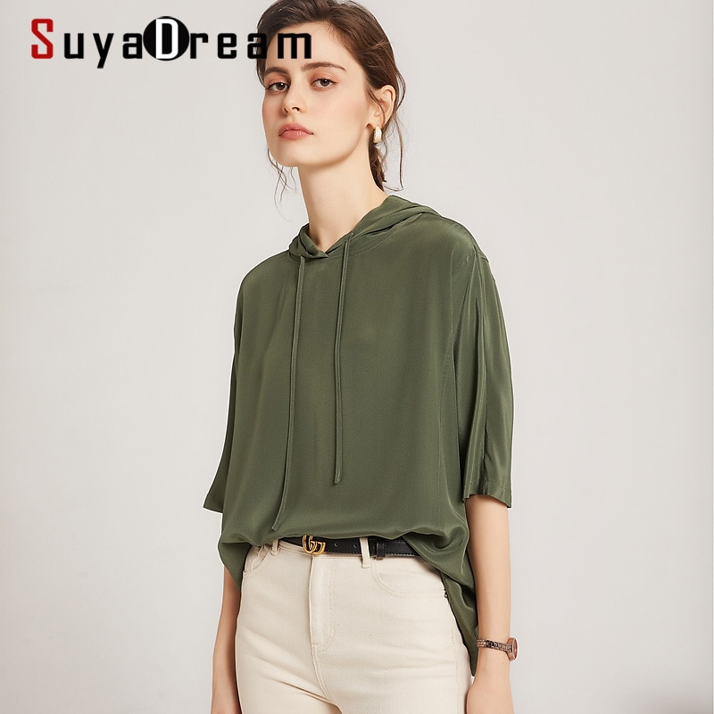 بلوزات نسائية صيفية 2021 من SuyaDream 100% بلوزة بقلنسوة بنصف كم من الكريب الحريري قمصان باللون الأخضر الجيشي