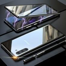 360 металлический магнитный чехол для телефона Samsung Galaxy S10 S9 S8 Note 10 9 8 Plus Pro A7 A9 2018 A50 M20 M30, закаленное стекло, USB кабель