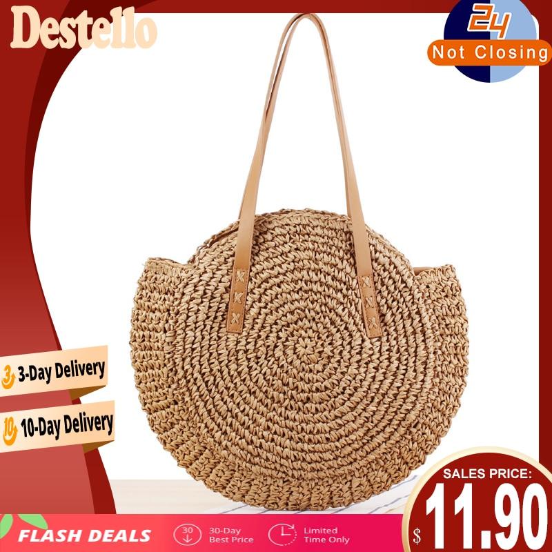 2020 Summer Round Straw Bags for Women Rattan Shoulder Bag Handmade Woven Beach Handbags Female Message Handbag Totes Bag