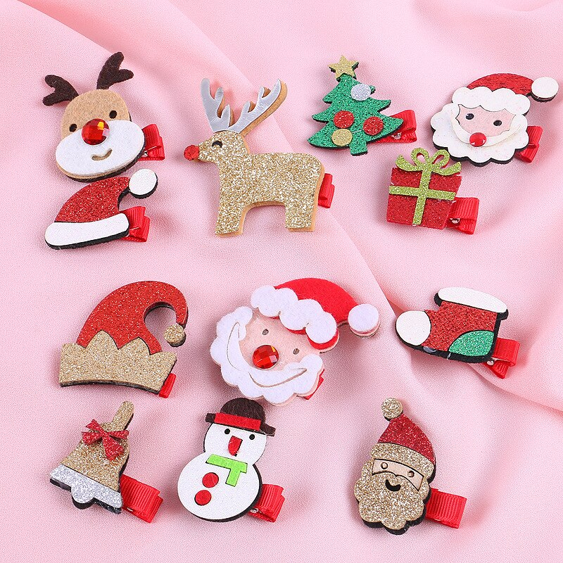Рождественские заколки для волос, детские рождественские зажимы для волос, головные уборы, милые заколки для волос, Детские аксессуары для ...