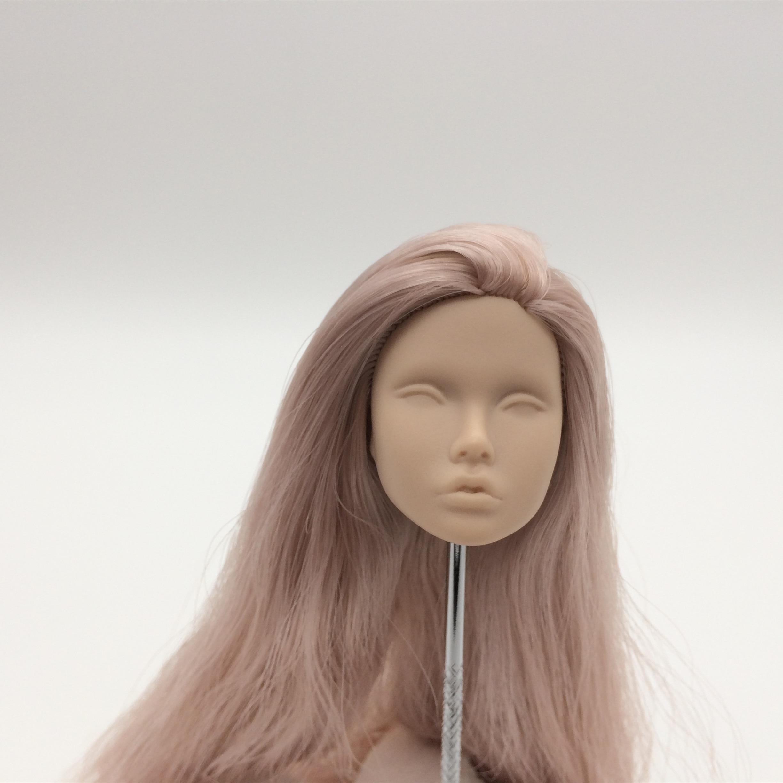 Muñeca de pelo morado de piel japonesa de poppy parker de moda cabeza en blanco para repintar OOAK
