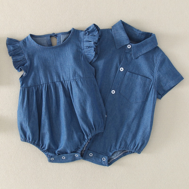 YG brand children's wear, fly sleeve jeans, newborn baby shirt collar, triangle creeping suit, short