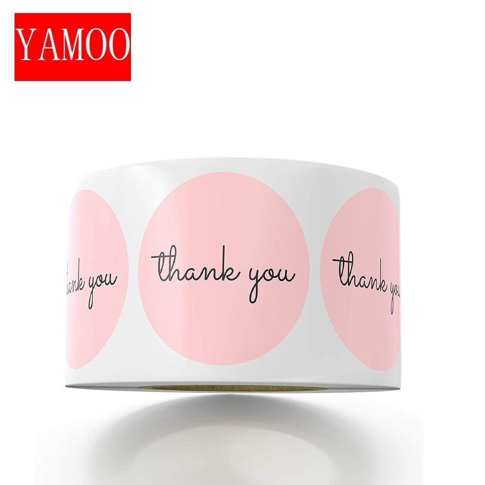 Thank You Stickers 1inch Pink Stickers for Company Giveaway & Birthday Party Favors Labels & Mailing Supplies Festival