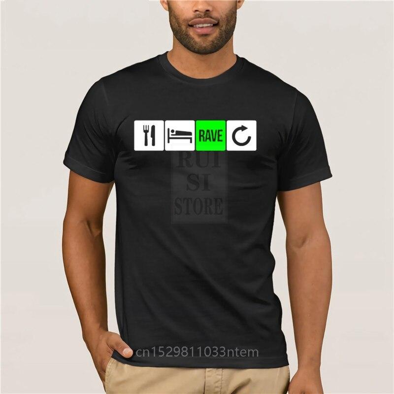 Impreso comer dormir Rave repetir camiseta tamaño grande 4xl algodón Comics streetwear mens camisetas de la tripulación
