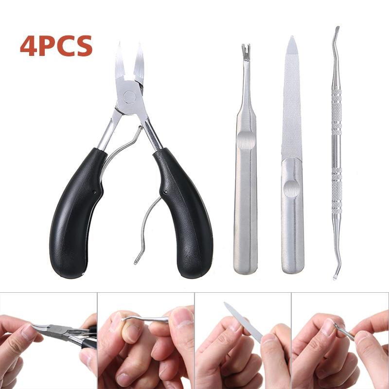4 шт ножницы для ногтей комплект Нержавеющаясталь кусачки для ногтей для толстых вросших ногтей ног прецизионные ножницы для стрижки когтей вырезать инструмент для педикюра
