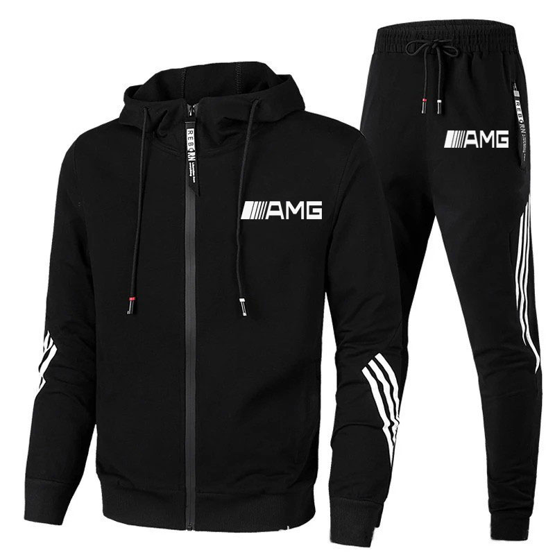 Free shipping new 2 piece sports suit AMG printed men's hooded sweatshirt + pants pullover sports suit casual sports men's wear