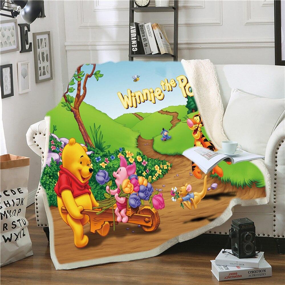 ديزني-غطاء سرير ويني بير للأطفال ، بطانية قطيفة ، هدية للأطفال البنات والأولاد ، 150 × 200 سنتيمتر
