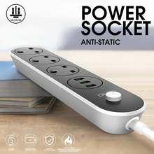 Prise ue royaume-uni 2500W 3 prises 3 ports USB adaptateur multiprise antidérapant Intelligent chargeur protecteur prise de courant