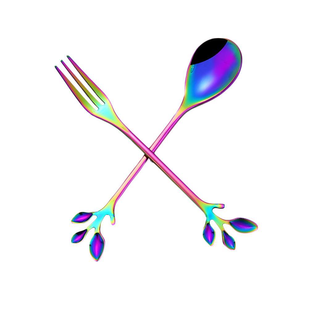 Cuchara de hoja, cucharas de regalo con mango largo, cubertería de acero inoxidable, accesorios para tazas de beber, vajilla, utensilios para café, postres y cuchara