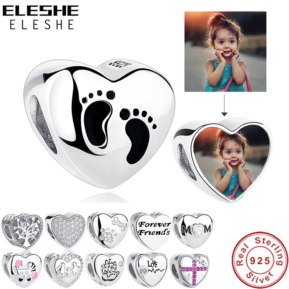 2017 crystal radiant heart sterling silver beads fit authentic pandora charms bracelet silver 925 original for jewelry berloque ELESHE Romantic Custom Photo Heart Charms fit Original Pandora Bracelet 925 Sterling Silver Beads DIY Original Jewelry Making