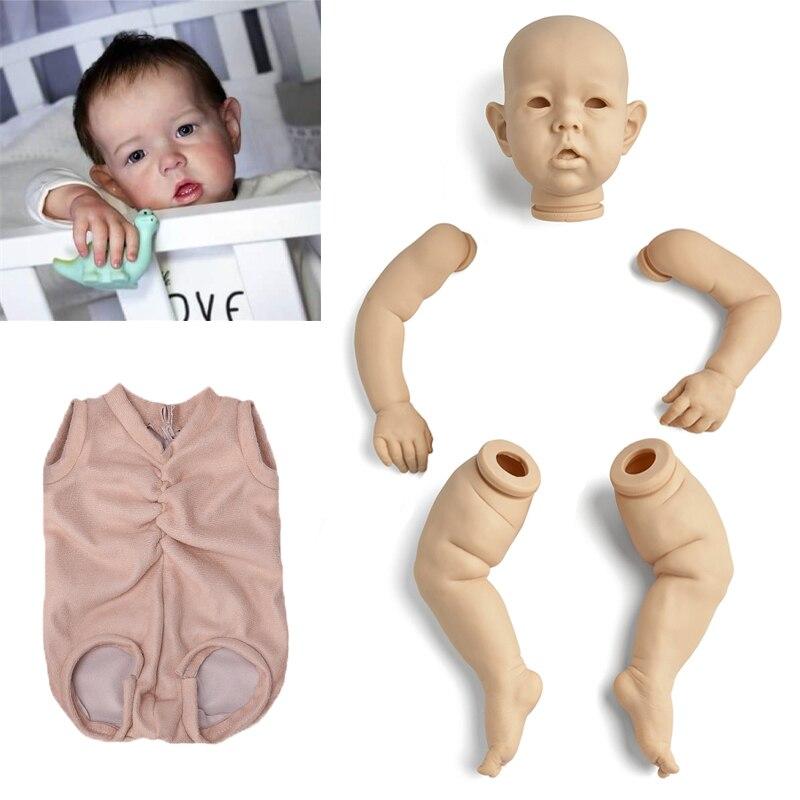 دمية طفل واقعية لحديثي الولادة ، 18 بوصة ، 45 سنتيمتر ، مجموعة قماش غير مصبوغة ، DIY