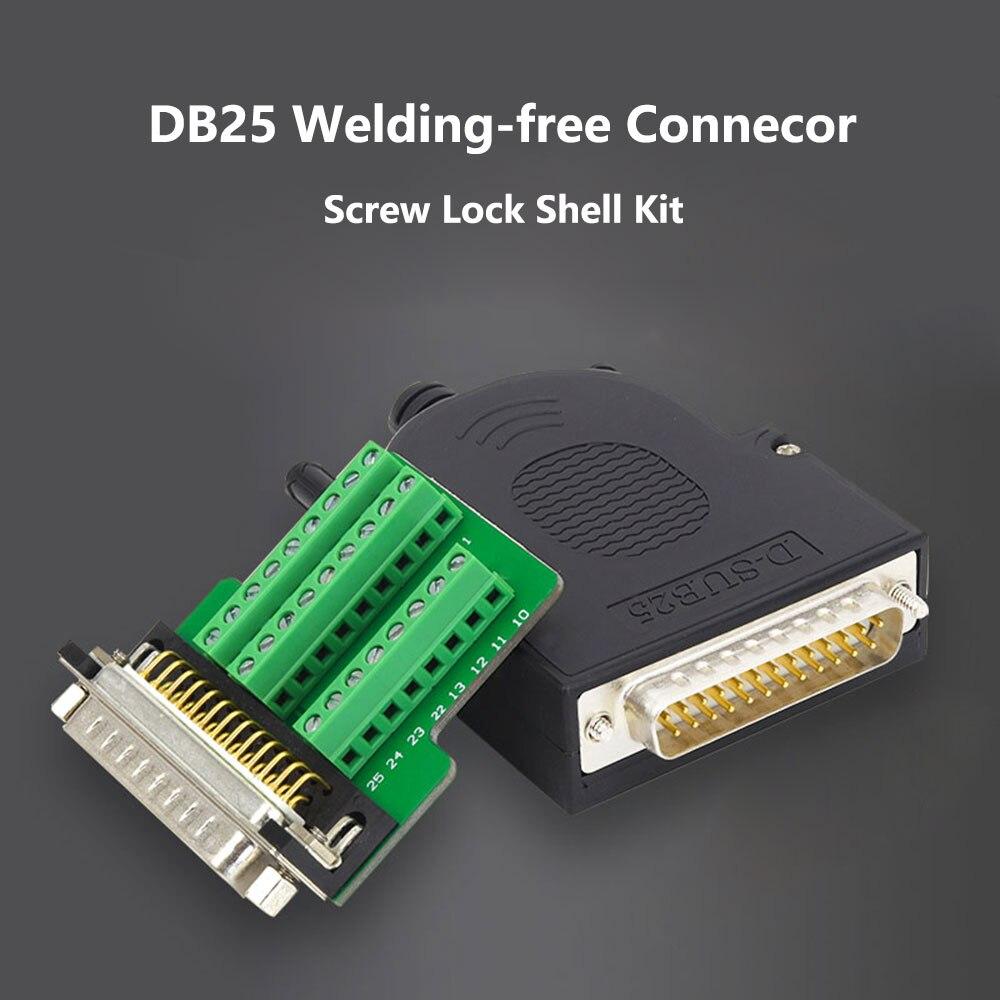 DB25 kaynaksız erkek fiş dişi soket vida kilit kabuk kiti 2 satır 25 Pin seri Port konektörü D-SUB 25 adaptörü