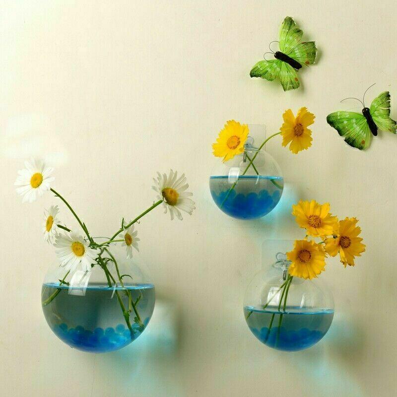 Terrario bola forma globo claro colgante florero de cristal maceta macetas pared pecera recipiente acuario Homw Decoración