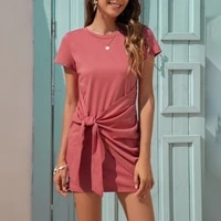 bandage solid color o neck short sleeve package hip sexy mini dress women casual streetwear beach holiday plus size dresses