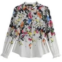lukaxsikax 2020 spring autumn women long sleeve silk shirt high quality colorful pattern print white shirt loose women tops