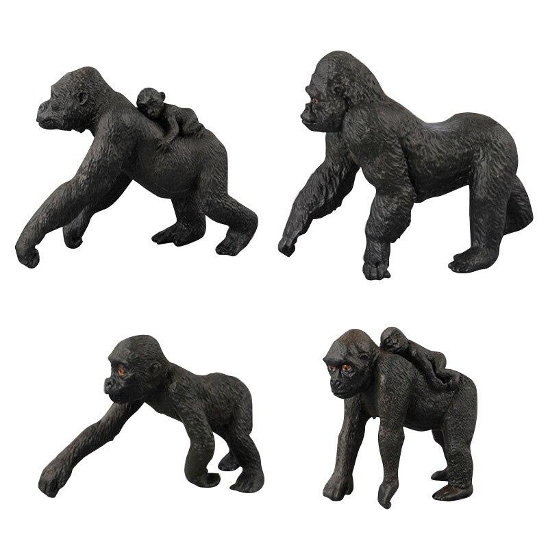 4 juguetes de escena de arena para niños, simulación, figura de gorila, juguetes coleccionables, figuras de acción para niños, animales de goma suave