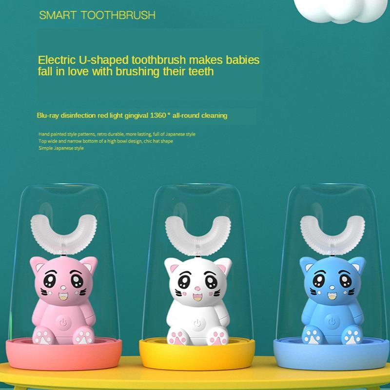 Smart XaoMi U Electric Toothbrush Kids Silicon Automatic Ultrasonic Teeth Tooth Brush Cartoon Pattern Children 360 Degrees Home