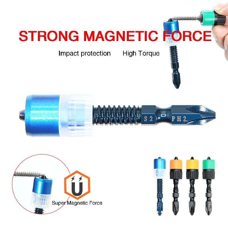 Многоцветная Магнитная отвертка 65 мм, насадки для дрели, антикоррозийные сверла, мощное кольцо, универсальные магнитные кольца, металличес...