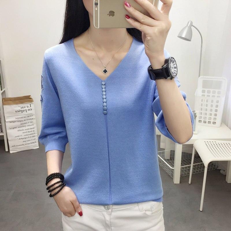 Tumblr coreano principios de otoño 2019 nuevo collar en V de seda de hielo camiseta con hueco con botón de puño de siete minutos y ropa interior de media manga