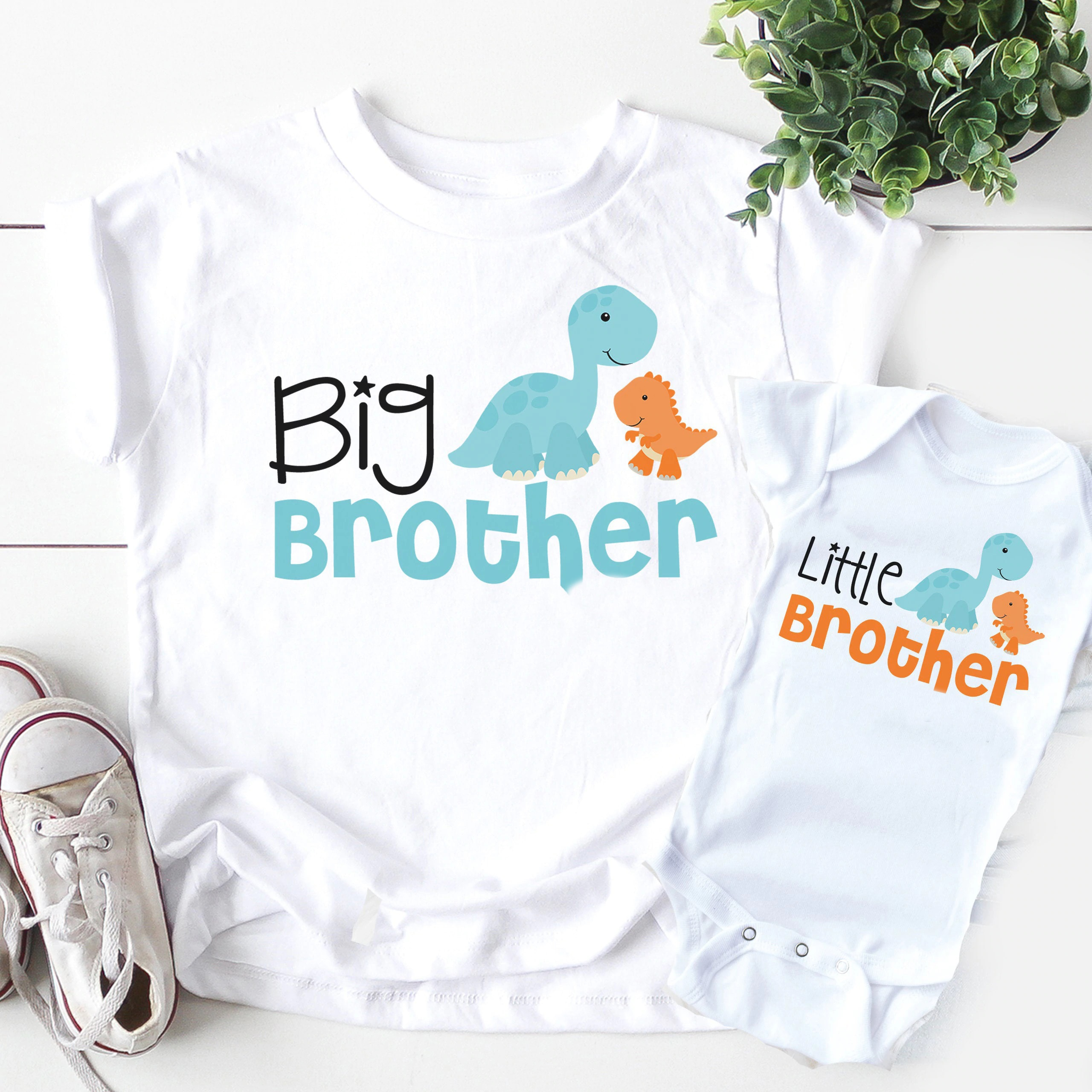 1PC Big Brother Little brother siblings matching Shirts Personalized dinosaur tops big brother littl