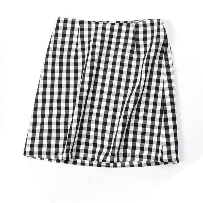Фото - Женская мини-юбка в черно-белую клетку, летняя трапециевидная мини-юбка с высокой талией, короткая юбка для девушек flavio castellani мини юбка