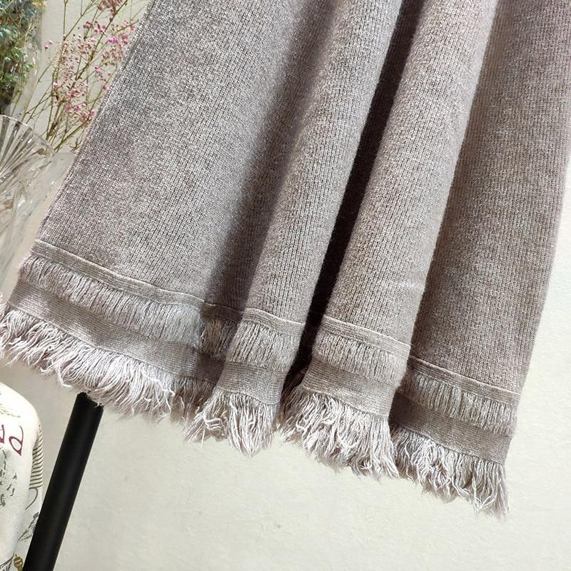 Tassel Knitted Skirt Female Winter Elastic High Waist Women Japanese A-line Skirt Sweet Woolen Long Skirt