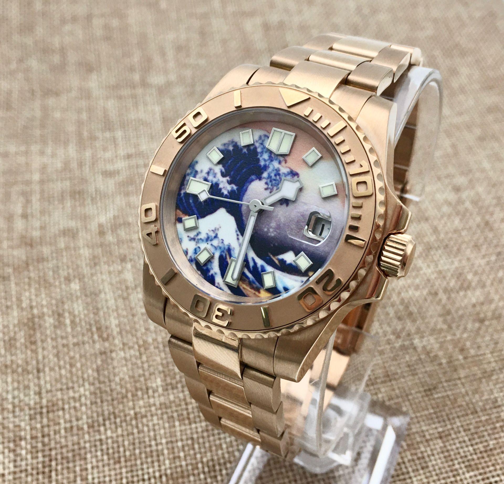 40mm Kanagawa Surf Luminous Dial Ceramic Ring Yacht Men's Automatic Mechanical Watch Stainless Steel Rose Gold Case enlarge