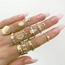 15Pcs Vintage Women Mid Rings Set ladies Flower Crown Hollow Out Joint Knuckle Nail luxury gold Ring
