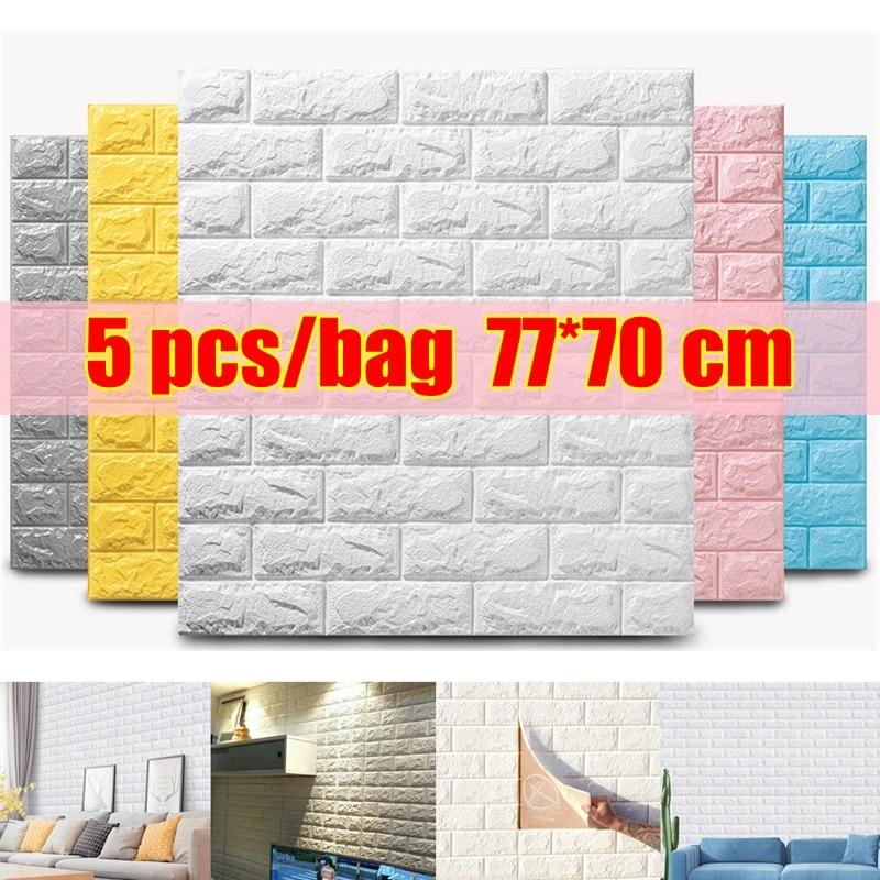 5pc 77*70cm 3D Wall Sticker Imitation Brick Bedroom Decor Waterproof Self-adhesive Wallpaper For Living Room TV Backdrop Decor