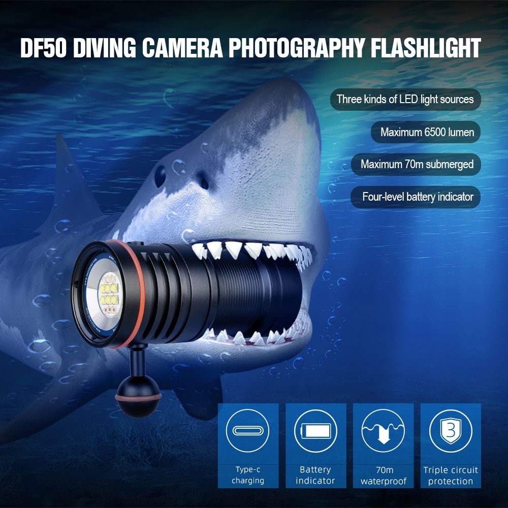 TrustFire DF50 Diving LED Flashlight 6500 Lumens Video Photoraphy Light Underwater 100m Dive Lighting High Bright LED Torch enlarge